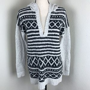 Roxy Cotton Geometric Hooded Pullover Sweater Sz S